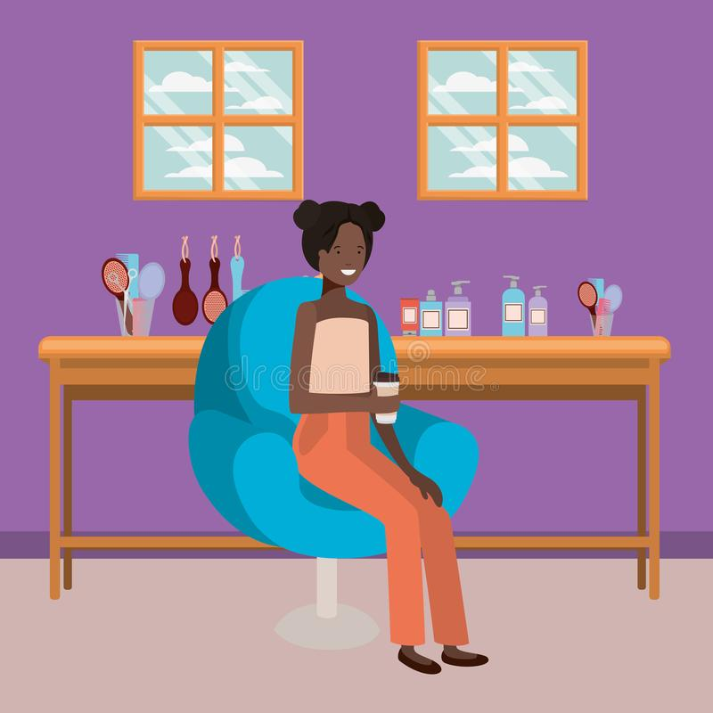 Young afro woman seated in salon chair drinking beverage stock illustration