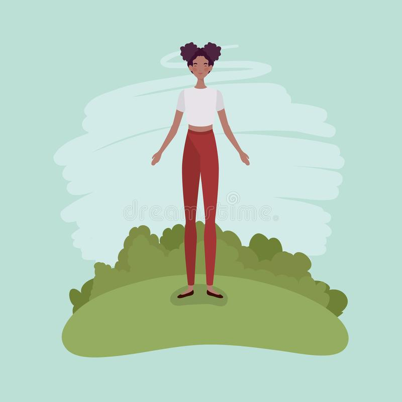 Young afro woman standing in the camp. Vector illustration design royalty free illustration