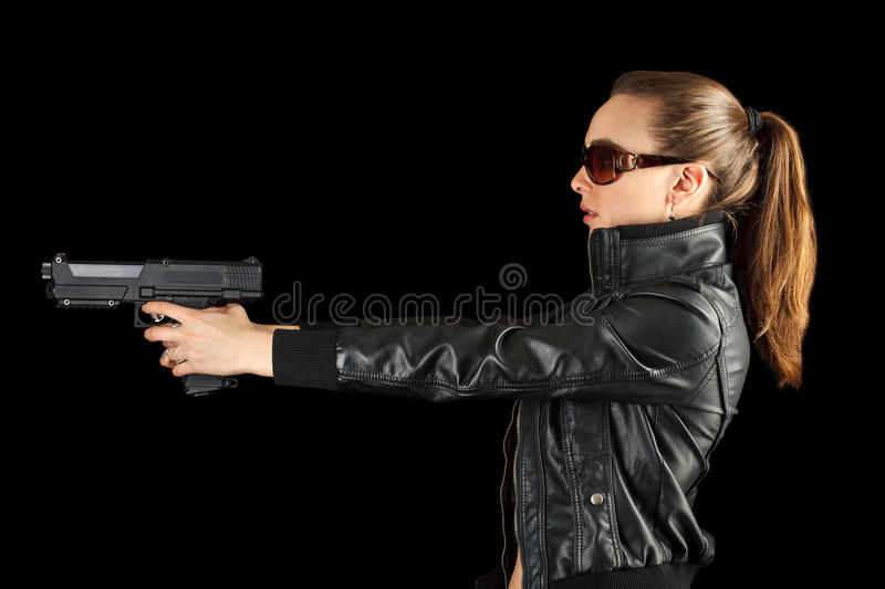 Young agent with gun royalty free stock photos
