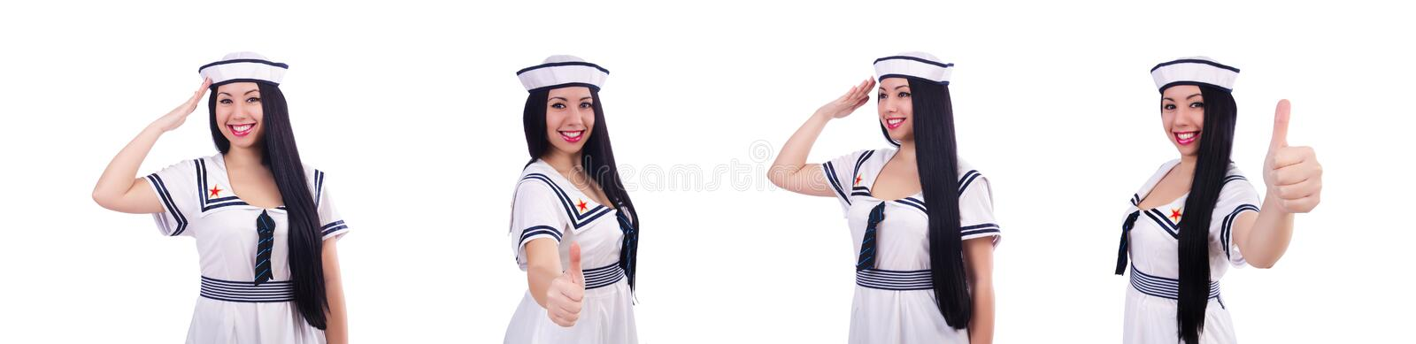 Young airhostess saluting isolated on white. The young airhostess saluting isolated on white royalty free stock photography