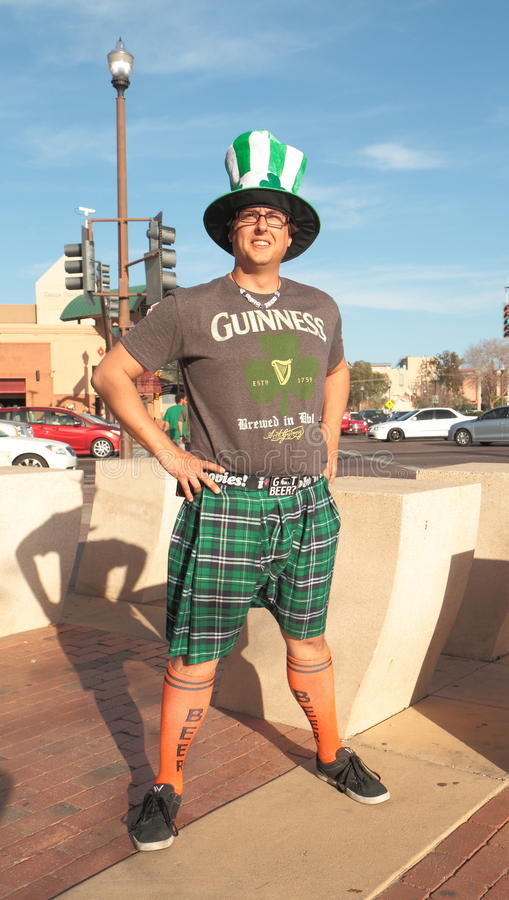 USa, AZ/Tempe: St. Patricks day - Irish Roots?. A young American is dressed up to celebrate St. Patrick´s Day (March 17) in Tempe, Arizona/USA royalty free stock image