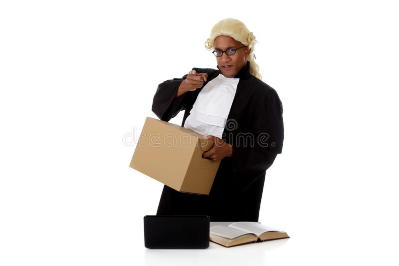 Young American judge man, screaming royalty free stock image