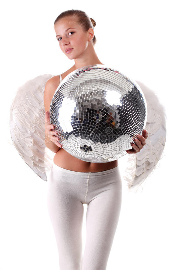 Young angel and disco ball stock images