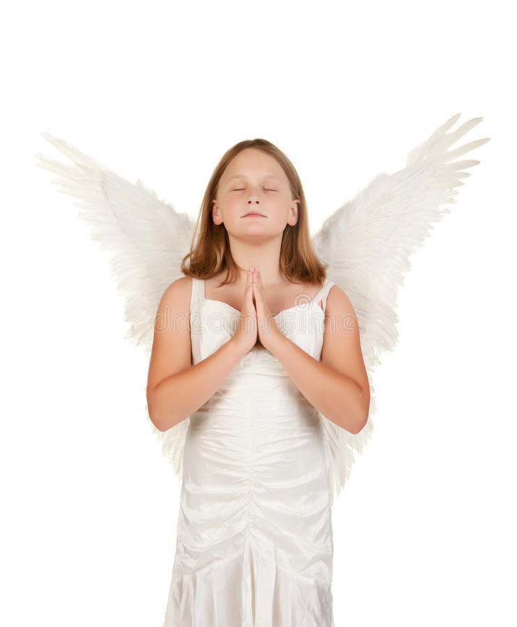 Download Young Angel Girl Praying On White Stock Images - Image: 14915554
