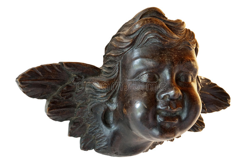 Young angel in sculpture in wood