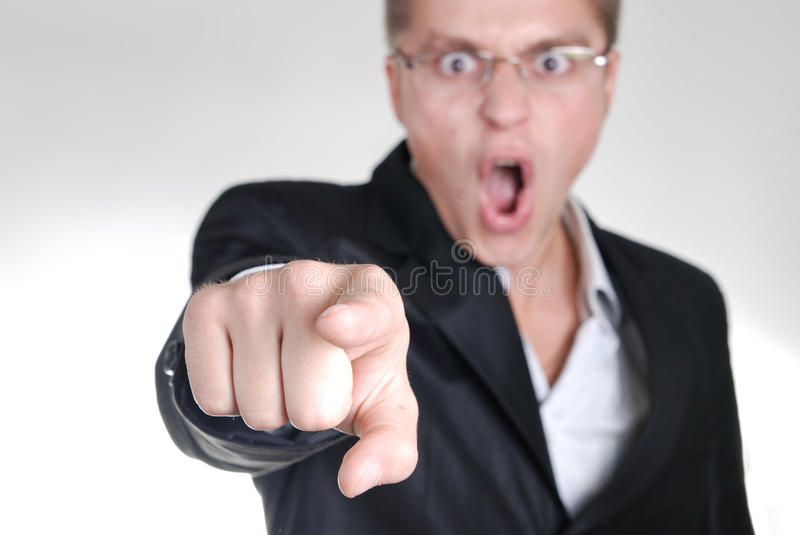 Download Young Angry Businessman Pointing Out His Finger To Royalty Free Stock Photos - Image: 11339628