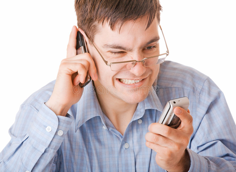Download Young Angry Man Talking On The Phone Stock Image - Image of communication, hate: 8957697
