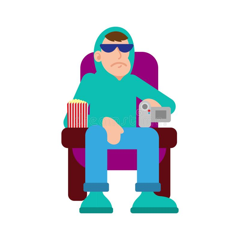 Man make illegal video in cinema. Young angry man thief in sunglasses and hoodie sit in cinema movie session and try illegal to video record on the video camera vector illustration