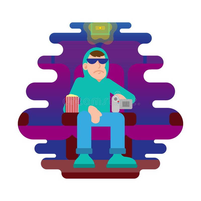 Man make illegal video in cinema. Young angry man thief in sunglasses and hoodie sit in cinema movie session and try illegal to video record on the video camera stock illustration
