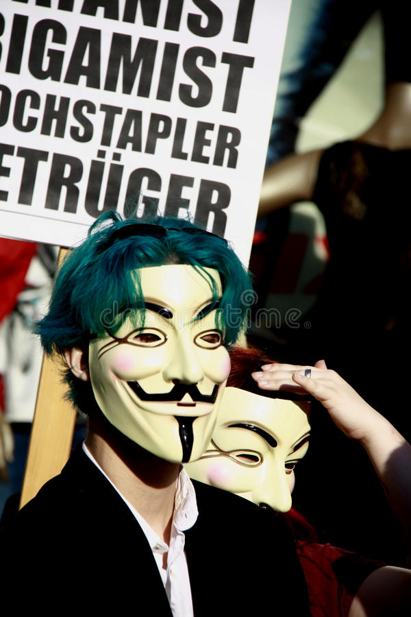 Download Young Anonymous Activist With Guy Fawkes Mask Editorial Stock Photo - Image of internet, protest: 23888518