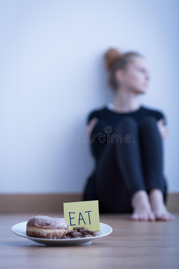 Young anorexic girl royalty free stock photography