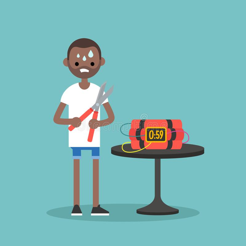 Young anxious black man trying to defuse the bomb / flat editable vector illustration, clip art royalty free illustration