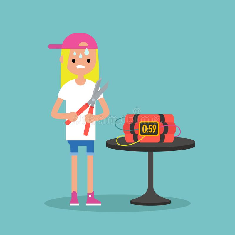 Young anxious blond girl trying to defuse the bomb / flat editable vector illustration, clip art vector illustration