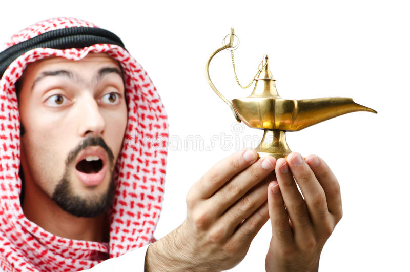 Download Young arab with lamp stock image. Image of aladin, headscarf - 22408665