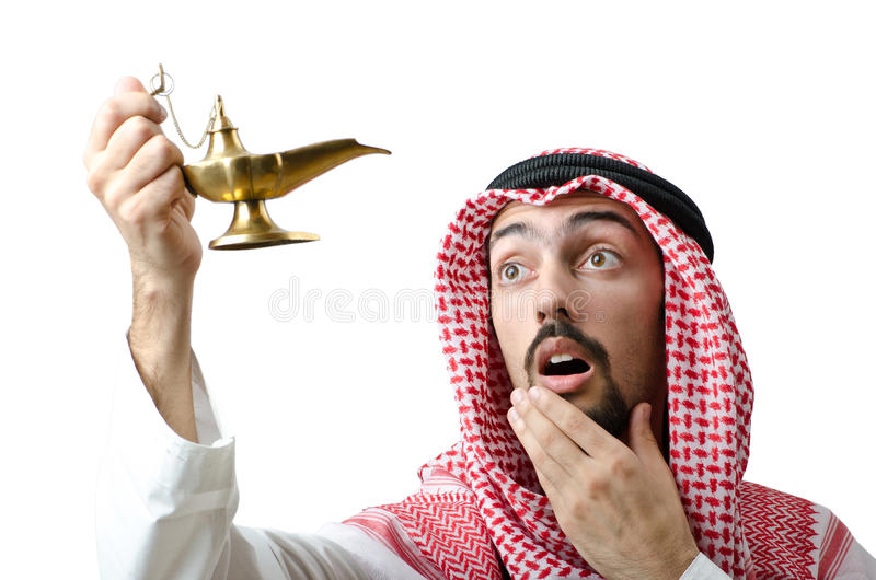 Young Arab With Lamp Royalty Free Stock Photos