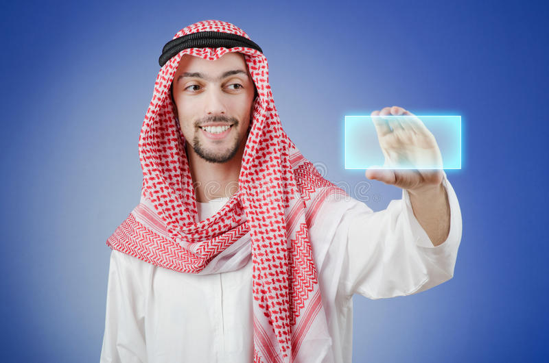 Download Young Arab Pressing Virtual Buttons Stock Image - Image: 24348721