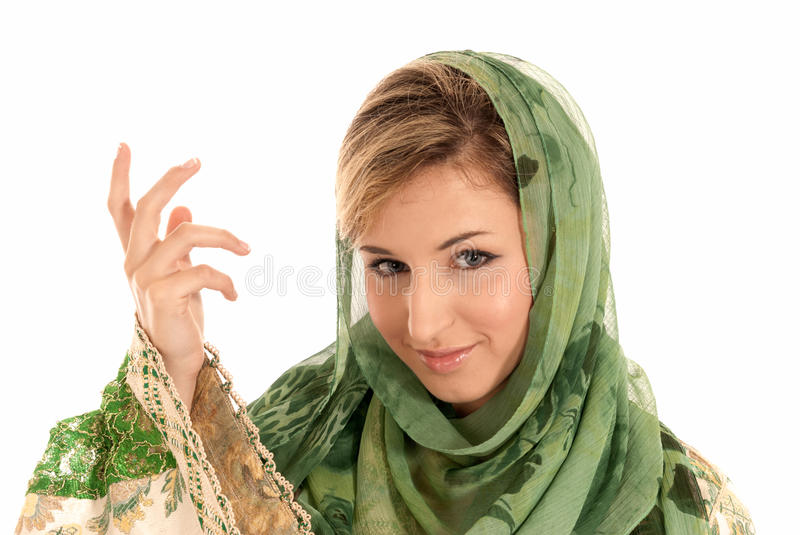 Young arab woman with veil closeup portrait