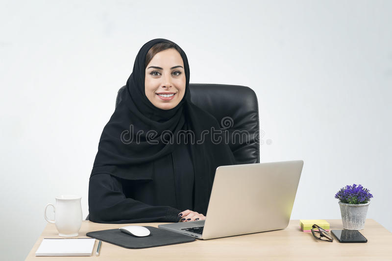 Young Arabian Businesswoman working in the office.  royalty free stock images