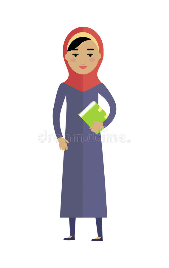 Young Arabian Woman with Book Isolated on White stock illustration