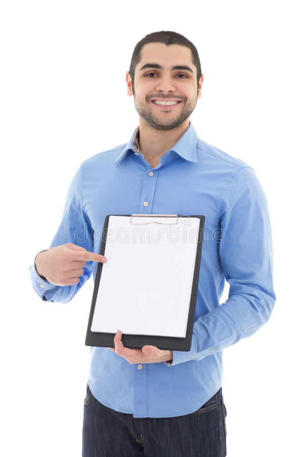 Young arabic man showing clipboard with copy space isolated on w stock image