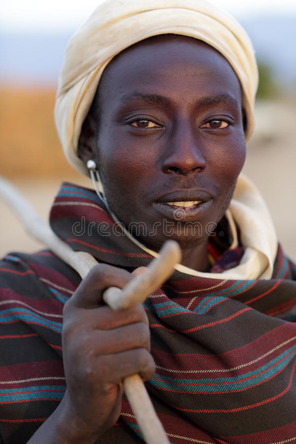 Young Arbore man in Lower Omo Valley, Ethiopia royalty free stock images