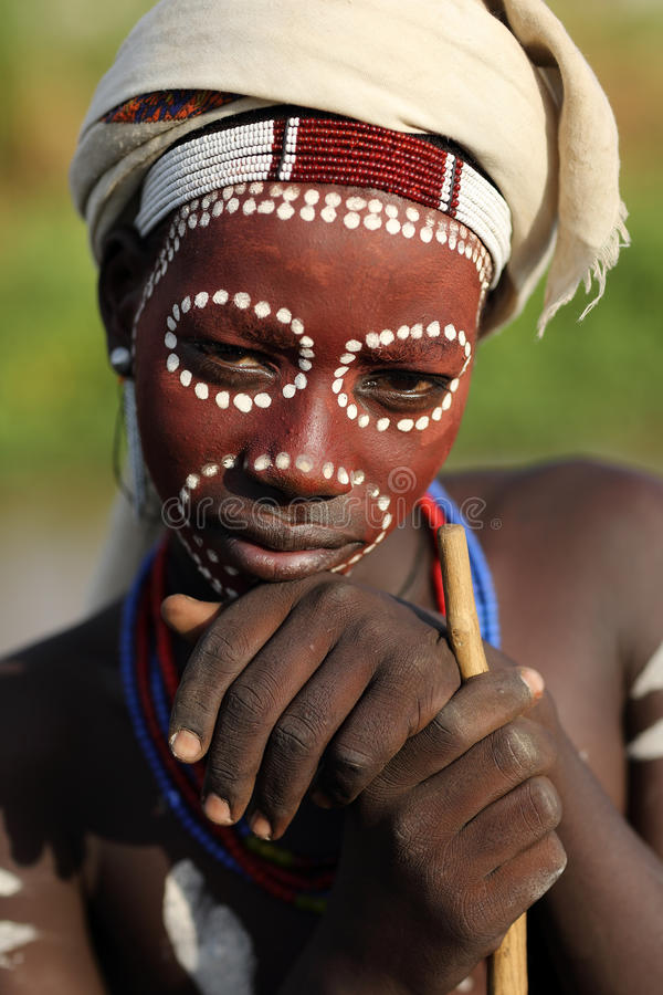 Young Arbore man in South Omo, Ethiopia. royalty free stock image