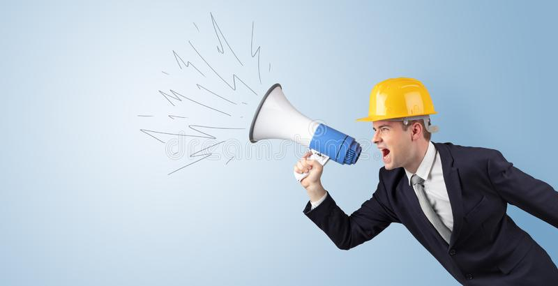 Young architect yelling with megaphone. Young architect constructor yelling with megaphone and copyspace vector illustration
