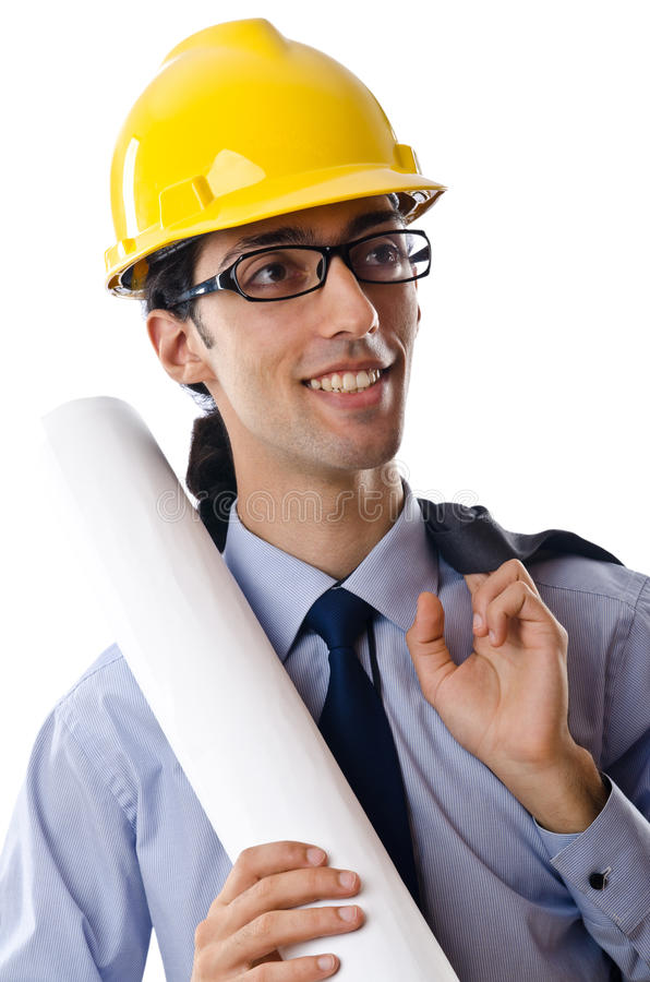 Download Young Architect With Drawings Isolated Stock Image - Image: 22156469