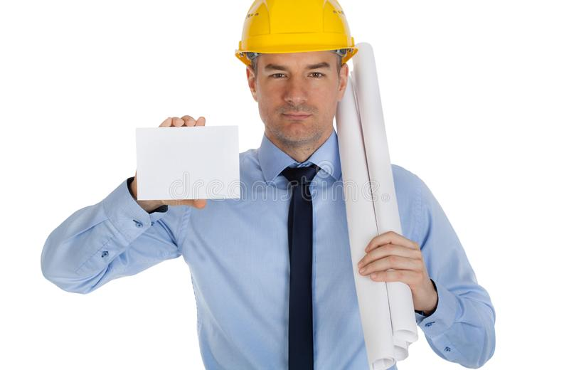 Young Architect holding business blank card. royalty free stock image