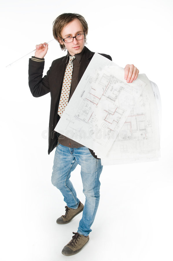 Download Young Architect With Sketch Stock Image - Image of sketch, expert: 9319355