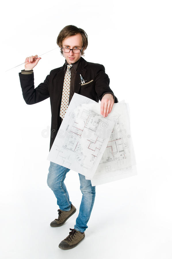 Download Young Architect With Sketch Stock Photo - Image of designer, design: 9436624