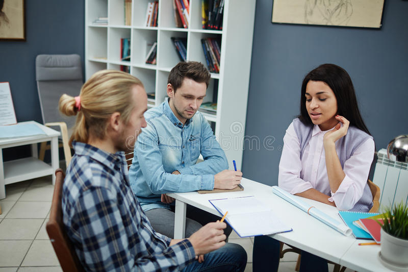 Young architects at work royalty free stock images