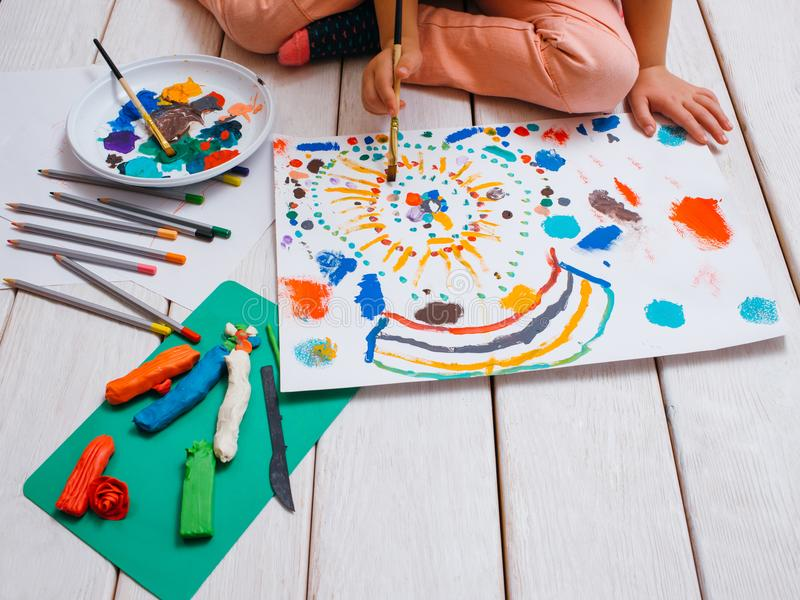 Young artist. Early children education stock images