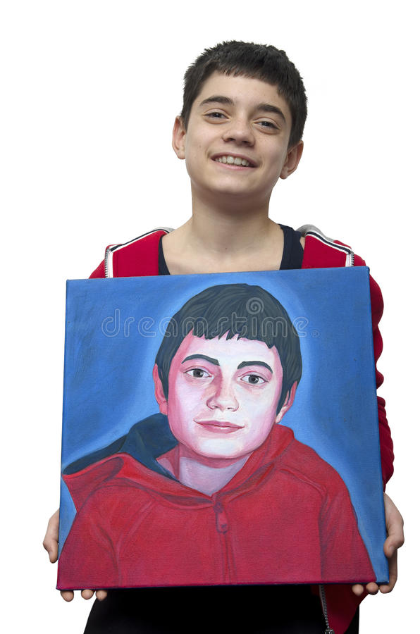 Young artist showing his self portrait royalty free stock photos