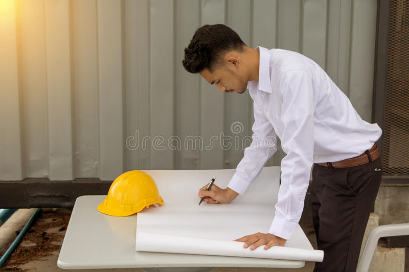 Young Asia man engineer. stock photo