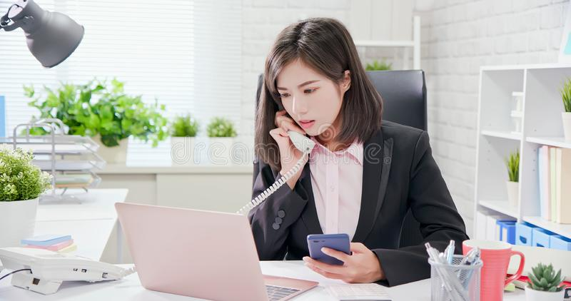 Young asia woman work in office stock images