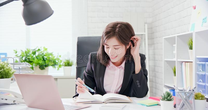 Young asia woman work in office royalty free stock photo
