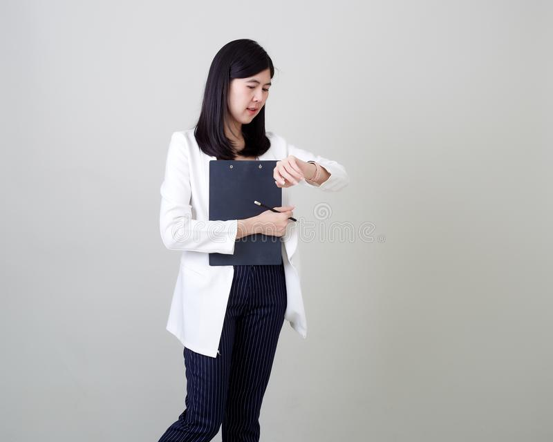 Young asian attractive cheerful businesswoman royalty free stock photos