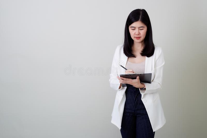 Young asian attractive cheerful businesswoman stock photo