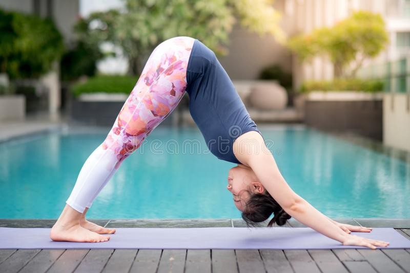 Young Asian woman doing yoga exercise with downward facing dog p royalty free stock image