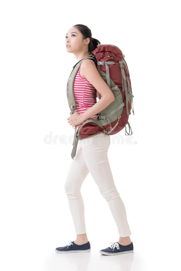 Young Asian backpacker royalty free stock images