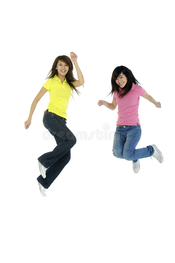 Young Asian beauty jumping stock image