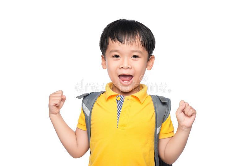 Young asian boy smile gesture hands ready to school.  stock image