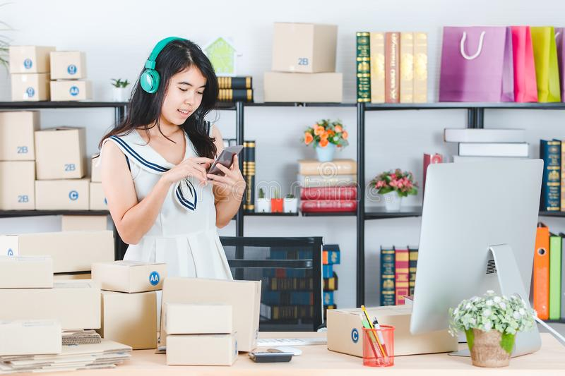 Young Asian business lady at office royalty free stock images