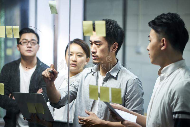 Young asian business team people meeting in office stock images