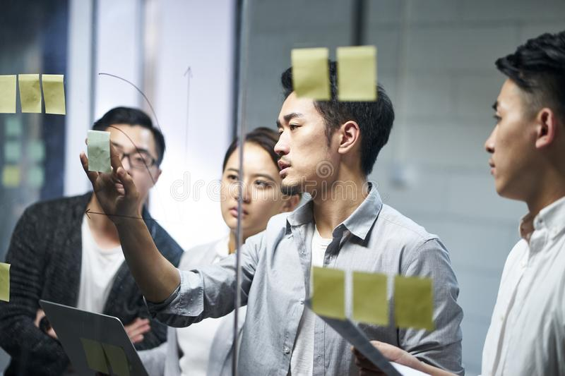 Young asian business team people meeting in office stock photography