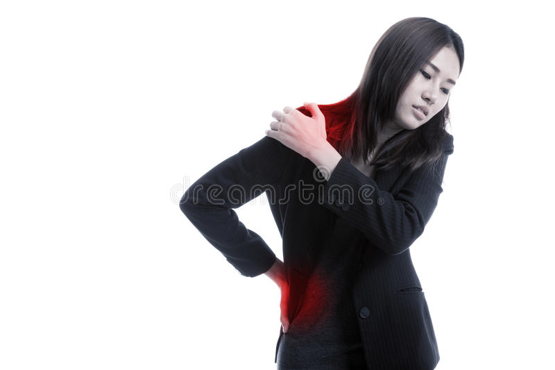Young Asian business woman got back pain. royalty free stock photo