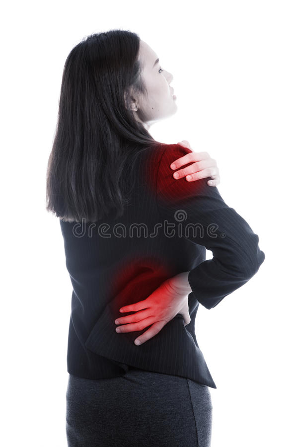 Young Asian business woman got back pain. royalty free stock photography