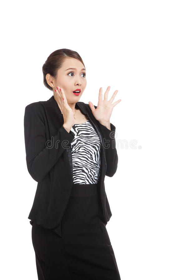 Young Asian business woman is surprised stock photo
