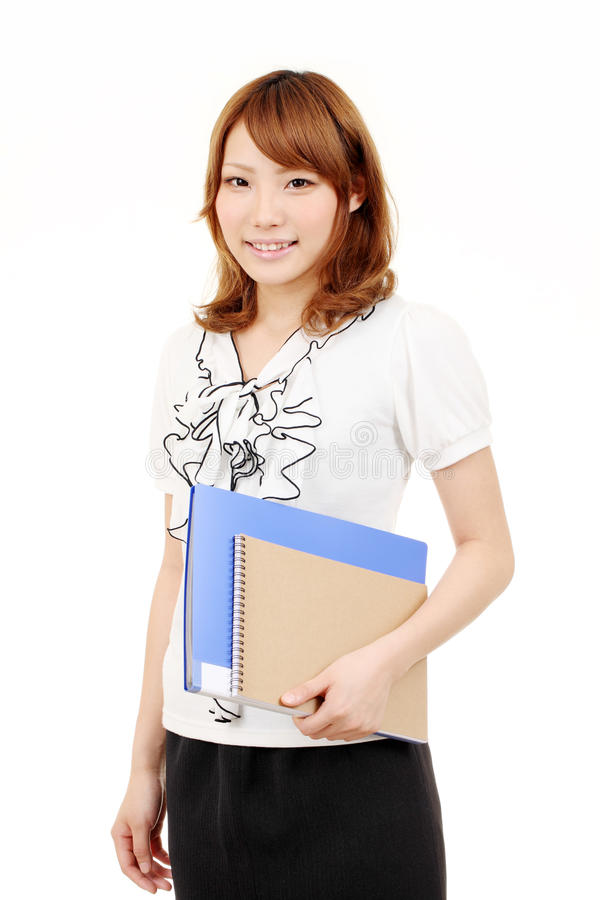 Download Young Asian Businesswoman Holding File Document Stock Image - Image: 19946795